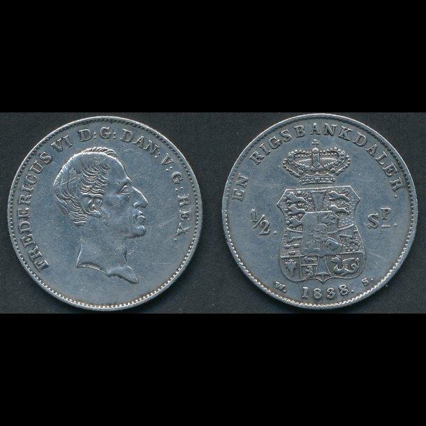 1838, Frederik VI, 1 rigsbankdaler, / ½ speciedaler, 1+, renset, *(169)