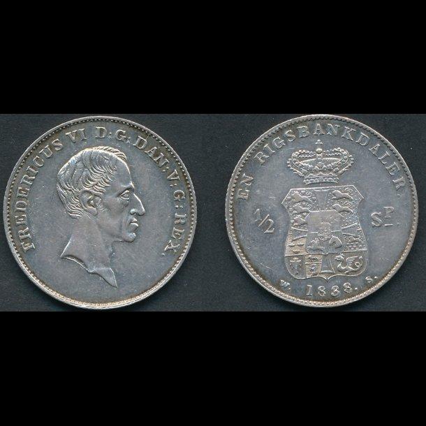 1838., Frederik VI, 1 rigsbankdaler, / ½ speciedaler, *(171)