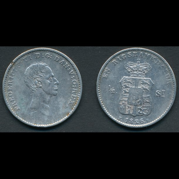 1826, Frederik VI, 1 rigsbankdaler, / ½ speciedaler, 1(+) *(165)