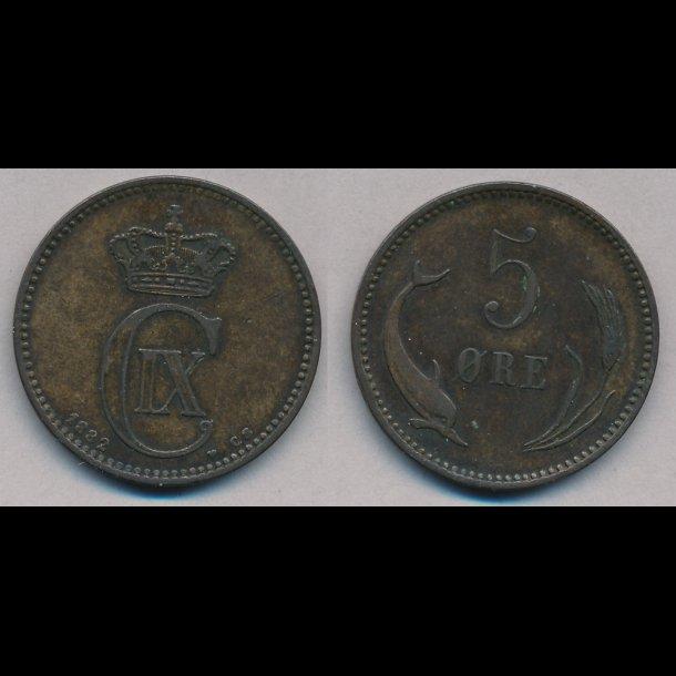 1882, 5 øre, 1+