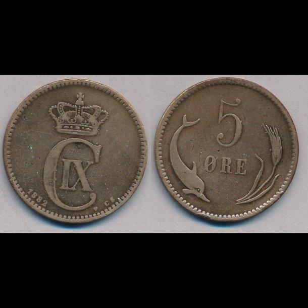 1882, 5 øre, 1