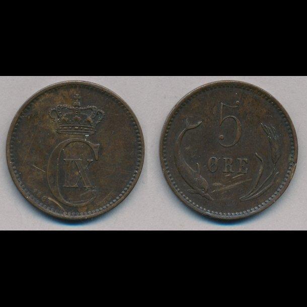 1884, 5 øre, 1+
