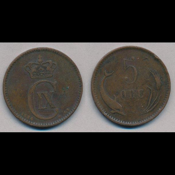 1884, 5 øre,