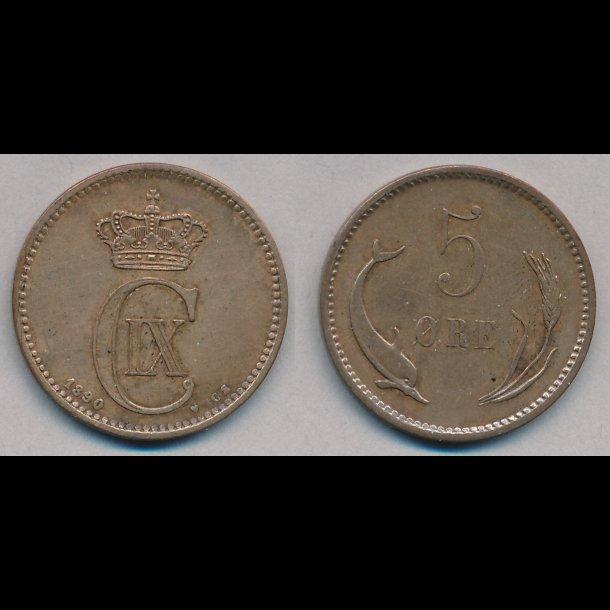 1890, 5 øre, 1+