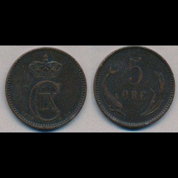 1890, 5 øre, 1+,