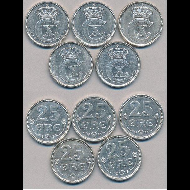 25 øre, sølv, 1913, 1915 & 1916: 1+, 1918 & 1919 01 *(0141)