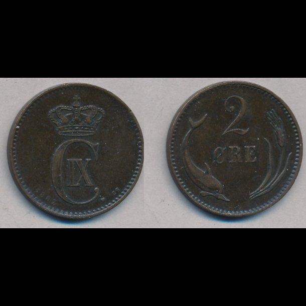 1887, 2 øre, 1+