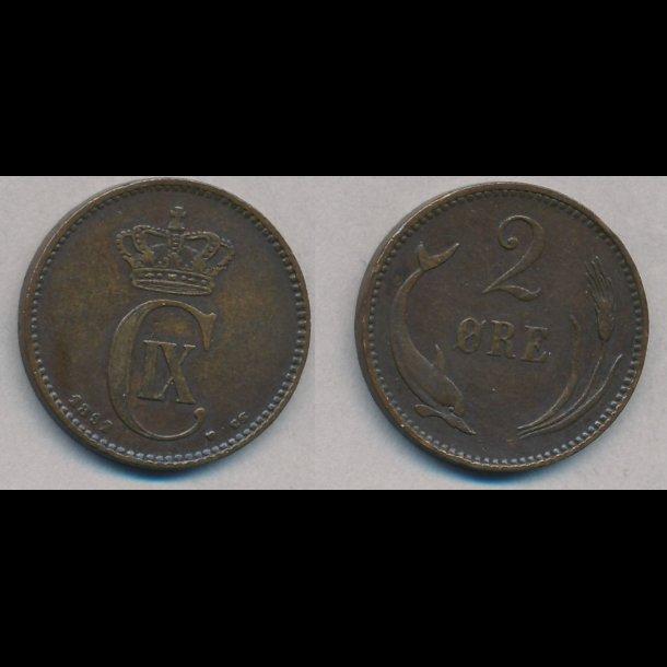 1892, 2 øre, 1+