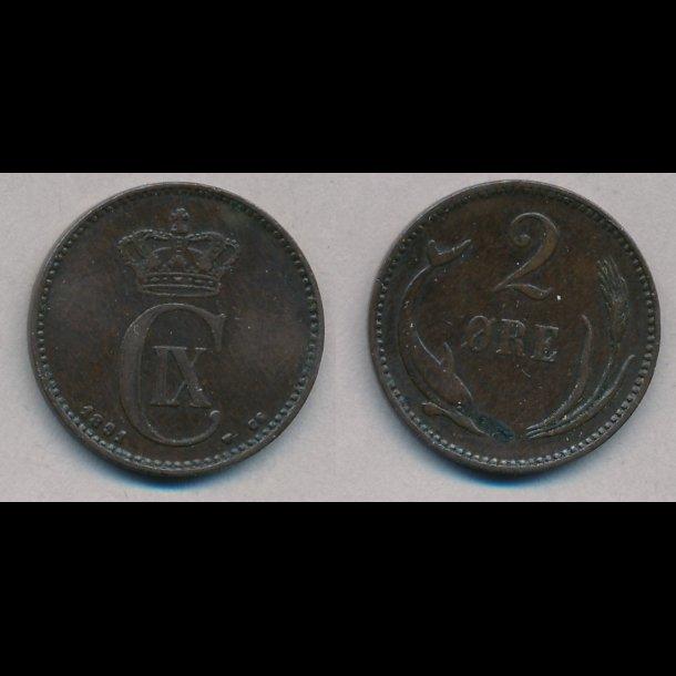 1891, 2 øre, 1+