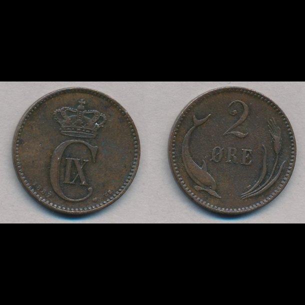 1887, 2 øre, 1(+)
