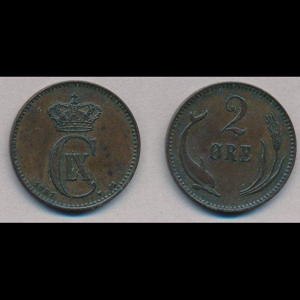 1887, 2 øre, 1++