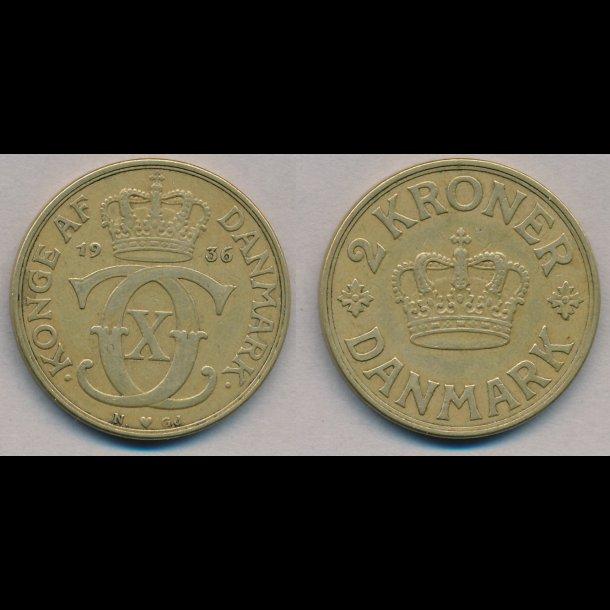 1936, 2 kroner, Christian X, 1(+)