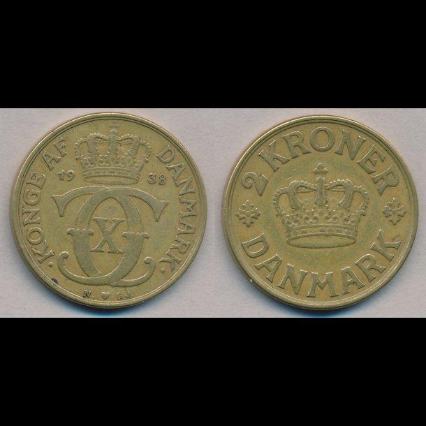 1938, 2 kroner, Christian X, 1(+)