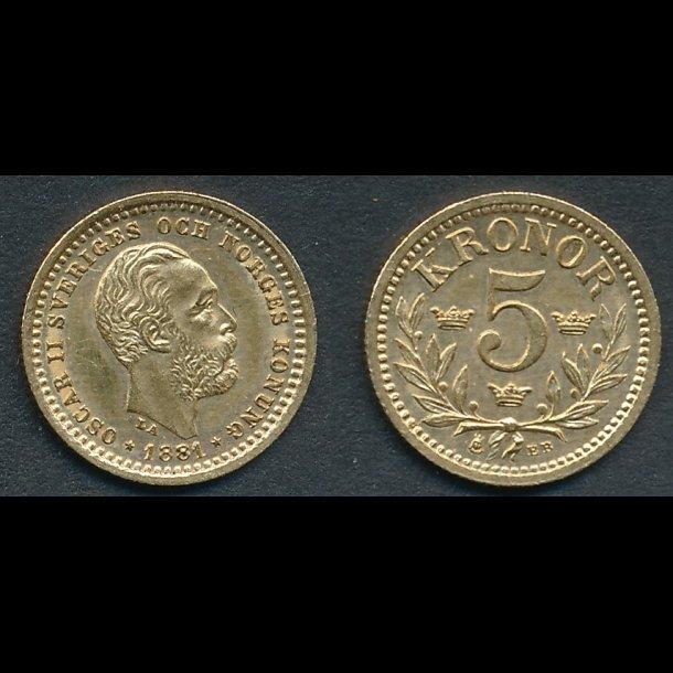1881, Sverige, Oscar II, 5 kronor, 0 / 01