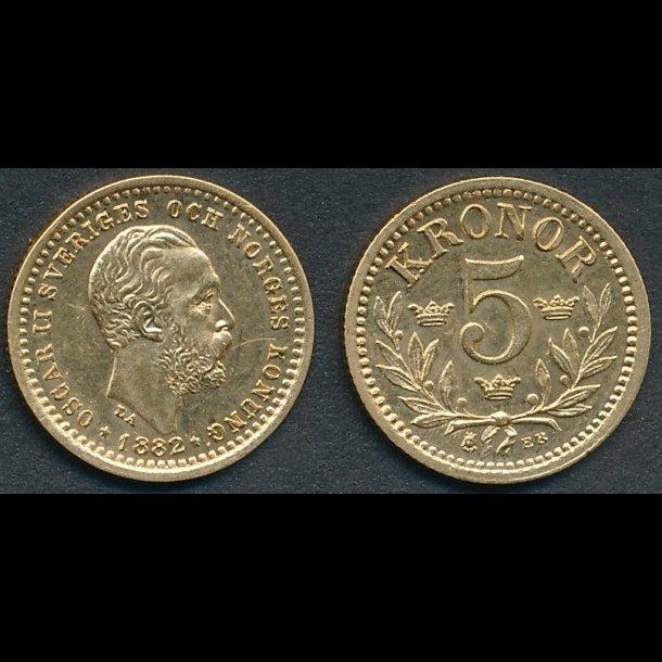 1882, Sverige, Oscar II, 5 kronor, 01