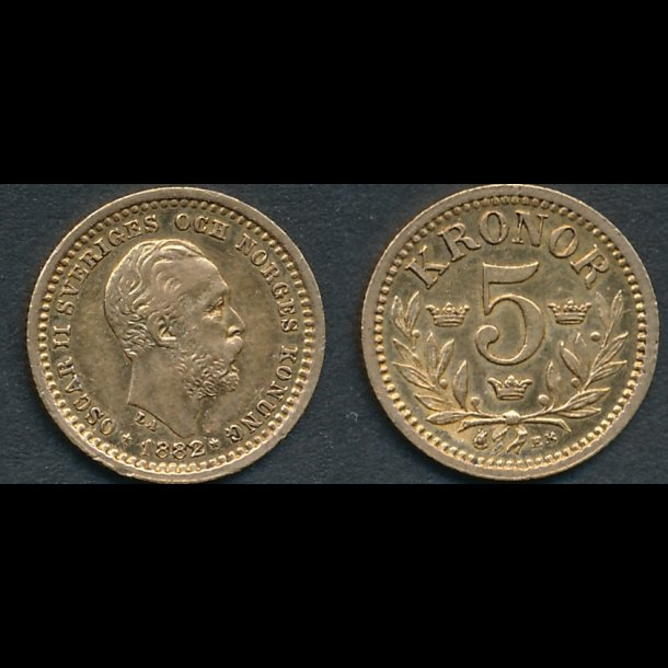 1882, Sverige, Oscar II, 5 kronor, 01 / 1+