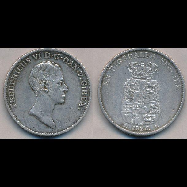 1825, FF, Frederik VI, 1 speciedaler, 1++