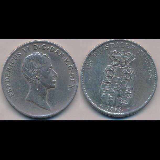 1825, FF, Frederik VI, 1 speciedaler, 1+, pudset