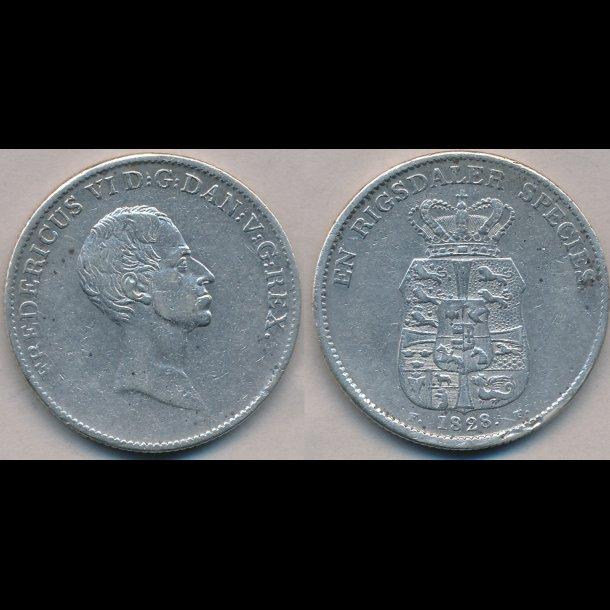 1828, FF, Frederik VI, 1 speciedaler, 1+, ujævn rand