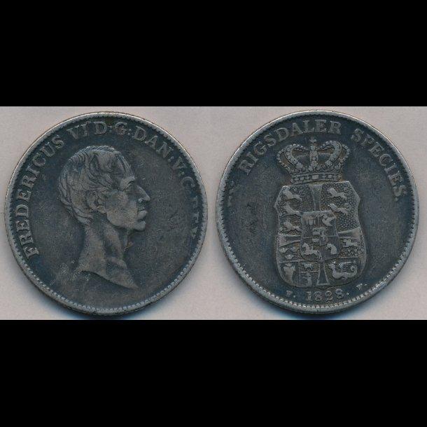 1828, FF, Frederik VI, speciedaler,  1+