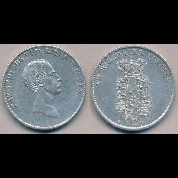1839, WS, Frederik VI, 1 speciedaler, 1++