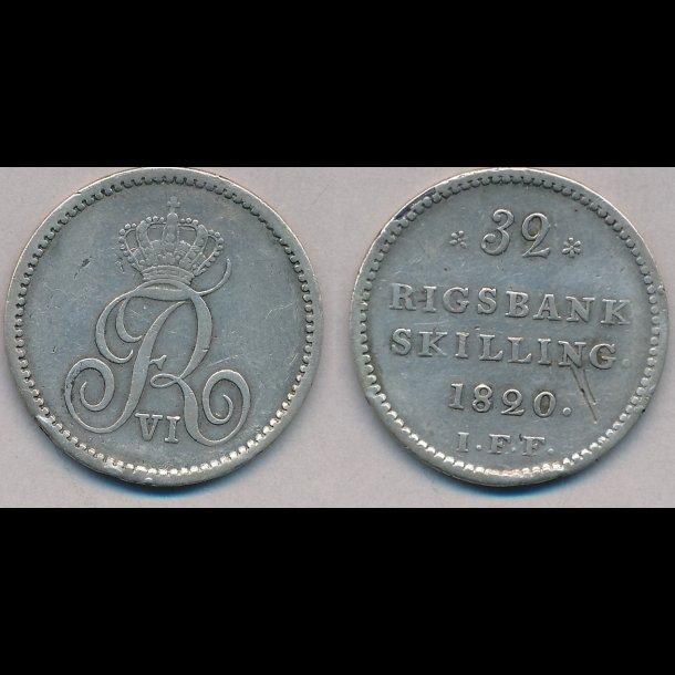 1820 FF, Frederik VI, 32 rigsbank skilling, 1(+), ridse på revers