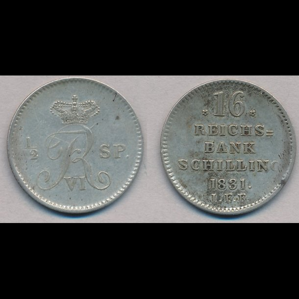 1831, Frederik VI, 16 rigsbank skilling, 1++