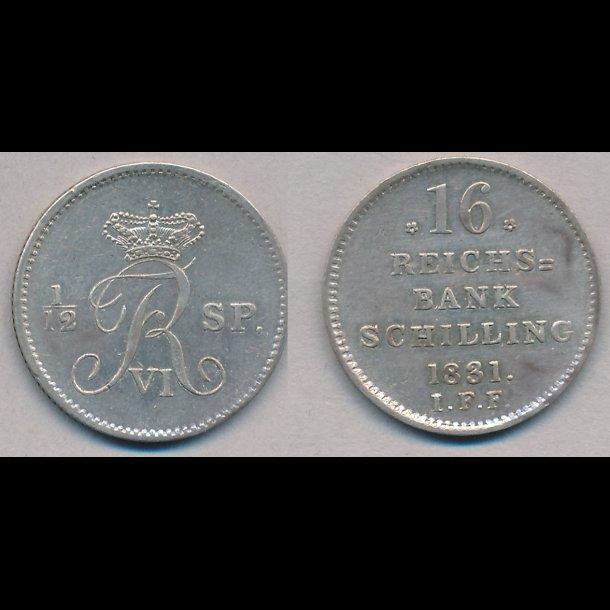 1831, Frederik VI, 16 rigsbank skilling, 01/0