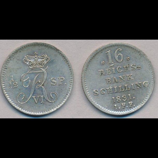 1831, Frederik VI, 16 rigsbank skilling, H30C, 0