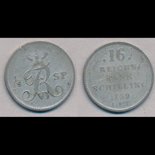 1839, Frederik VI, 16 rigsbank skilling, 1