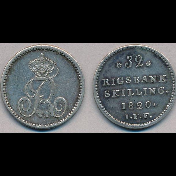 1820, Frederik VI, 32 rigsbank skilling,
