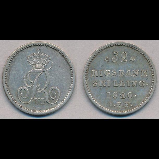 1820, Frederik VI, 32 rigsbank skilling, 1+ / 01, H29B