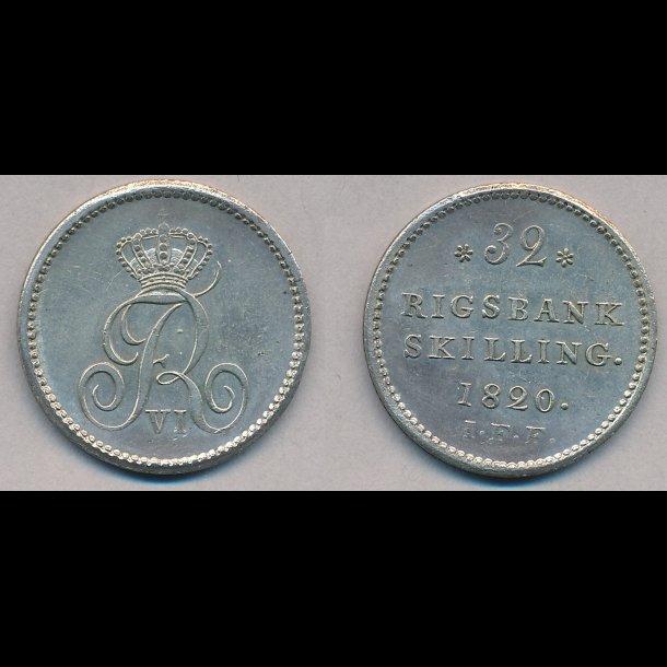 1820, Frederik VI, 32 rigsbank skilling, 01, H29B