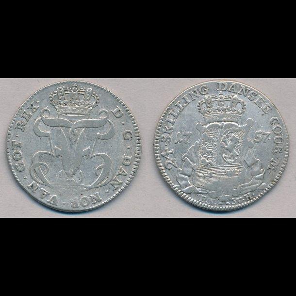 1757, Frederik V, 24 skilling, 01, H35A, svagt præg