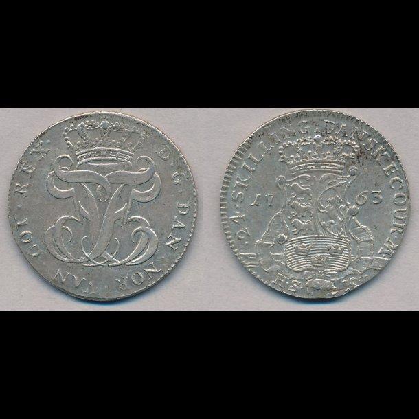 1763, Frederik V, 24 skilling, 0/01, H35B