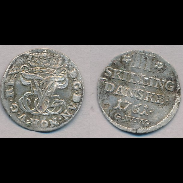 1761, Frederik V, 2 skilling, 1+, H36C, bøjet