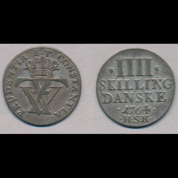 1764, Frederik V, 4 skilling, 1+, H39