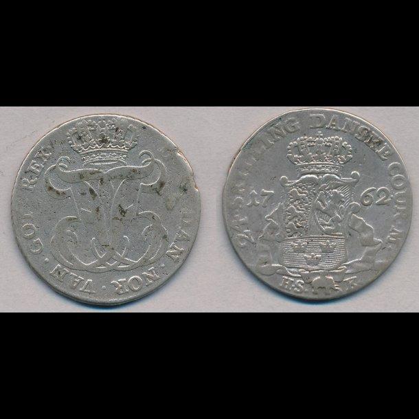 1762, Frederik V, 24 skilling, 1+ / 1-, H35B