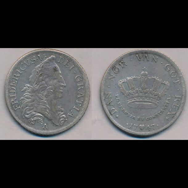 1747, Frederik V, krone, 1+, H29M, S16
