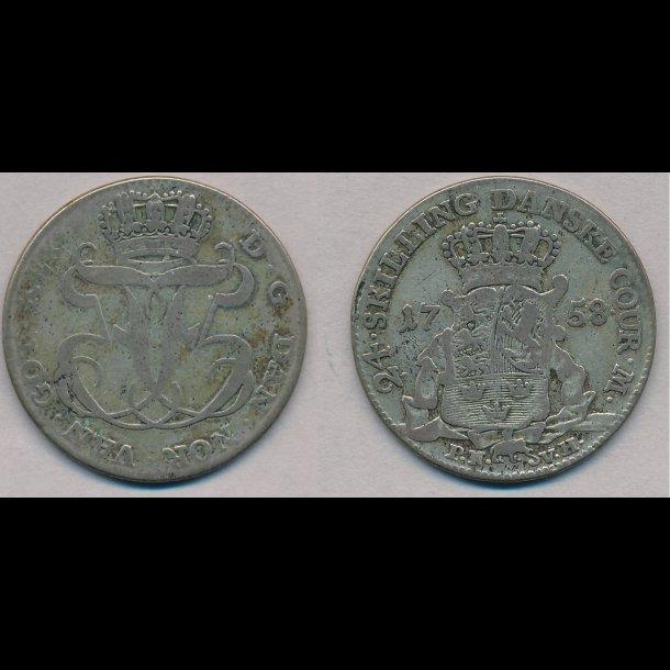 1758, Frederik V, 24 skilling, 1(+), 24B, 35A