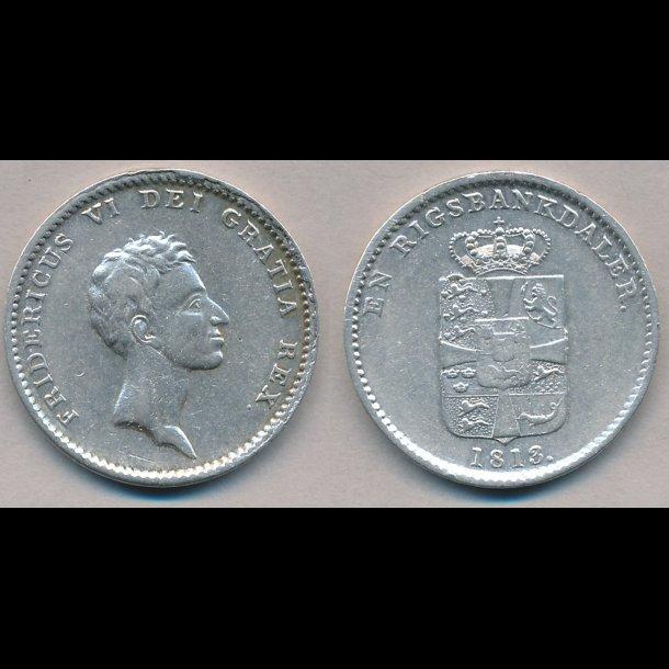1813, Frederik VI, 1 rigsbankdaler, 1+, H24B, S26,2