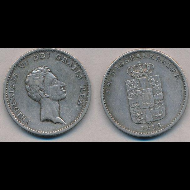 1813, Frederik VI, 1 rigsbankdaler, 1++, H24B, S26,2