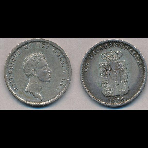 1813, Frederik VI, 1 rigsbankdaler, næsten 01, H24B