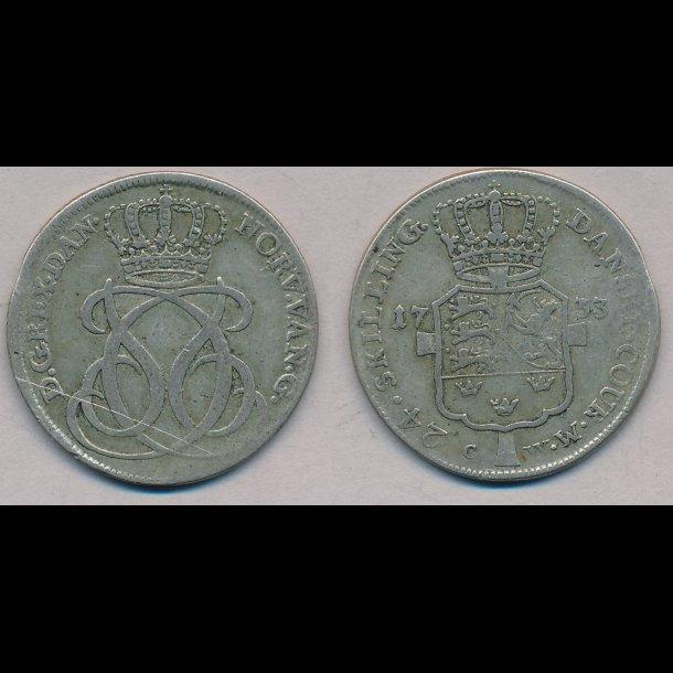 1733, Christian VI, 24 skilling, 1+