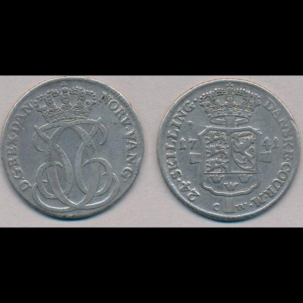 1741, Christian VI, 24 skilling, 1