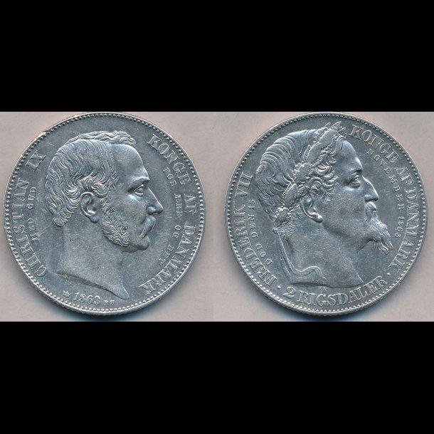 1863, Christian IX, 2 rigsdaler, tronskifte speice