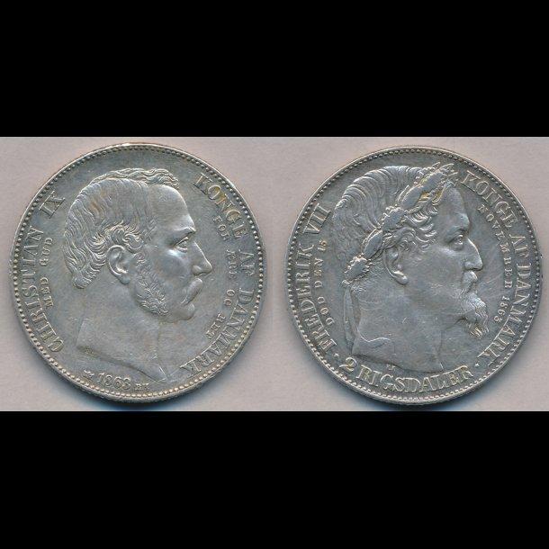1863, Christian IX, 2 rigsdaler, tronskifte specie, 1+