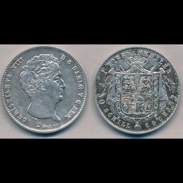 1847, VS, Christian VIII, 1 rigsbankdaler, 1+, H4A,