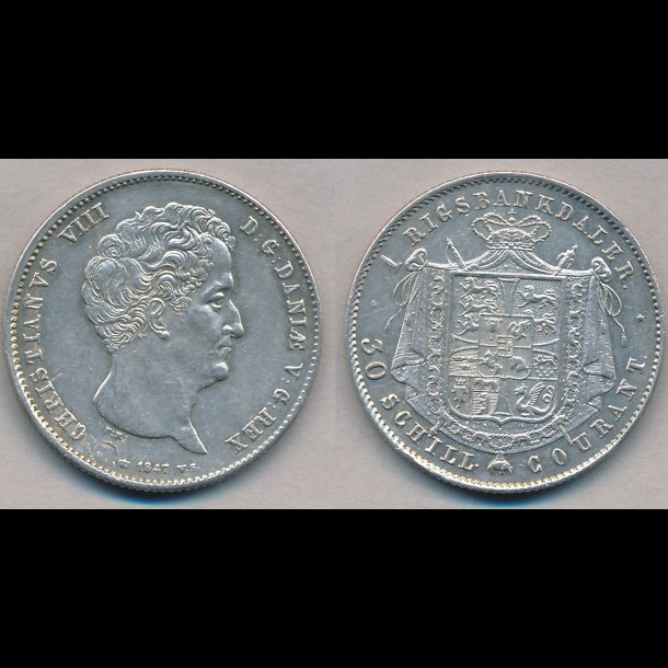 1847, VS, Christian VIII, 1 rigsbankdaler, 1++,H4A,