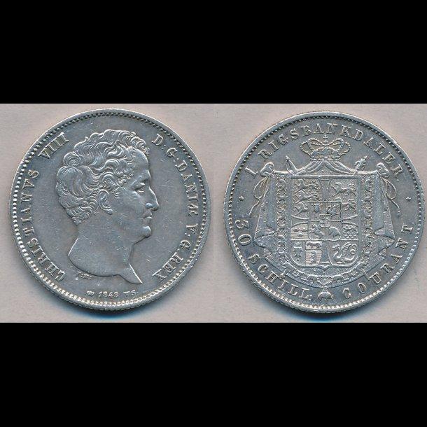 1848, VS, Christian VIII, 1 rigsbankdaler, 1 (+), H4A,